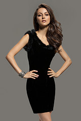 Sleeveless Velvet Fur Trim Sheath Dress (Black)
